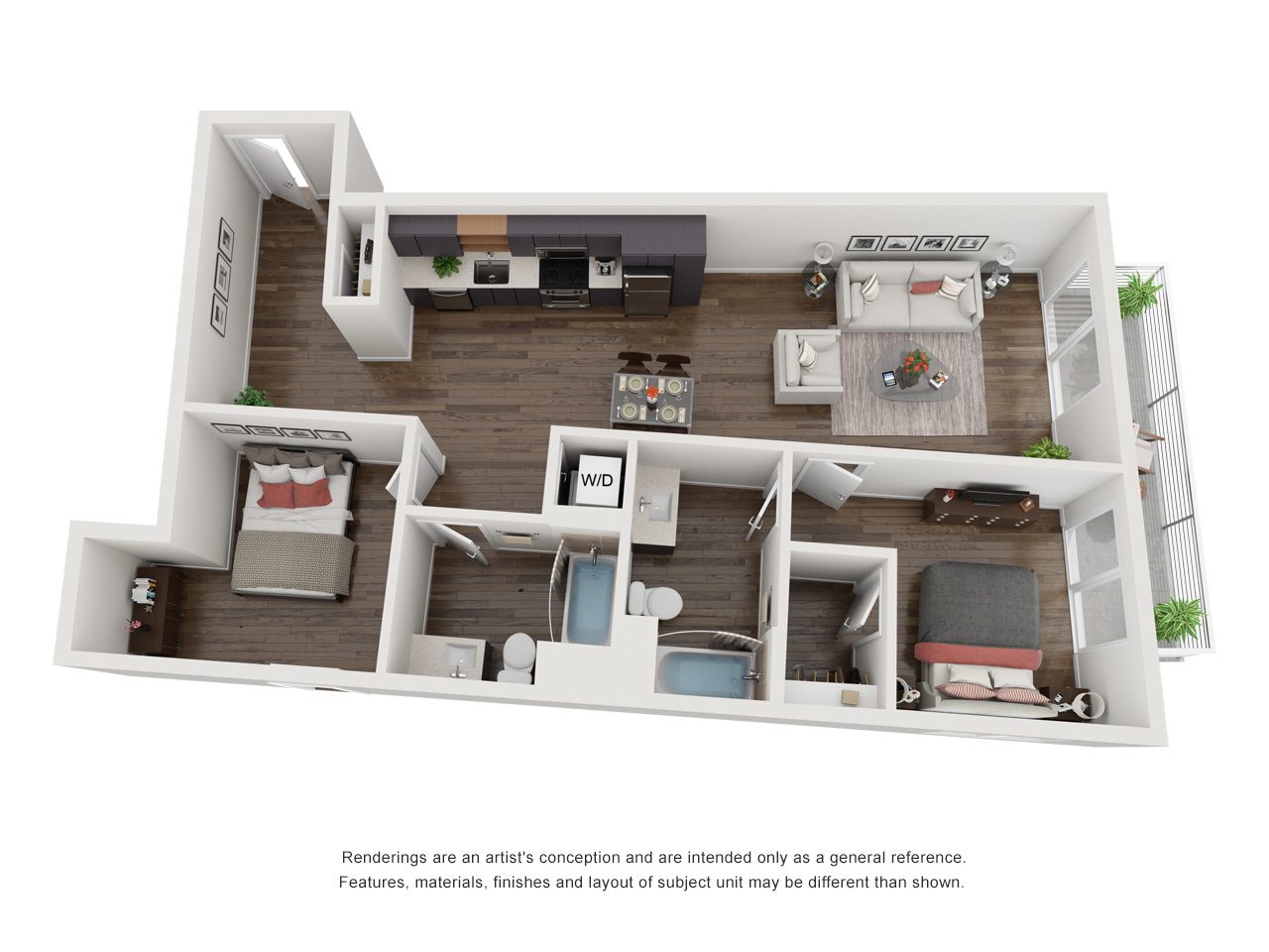 Plan 1A 2Bedroom | 2 Bath