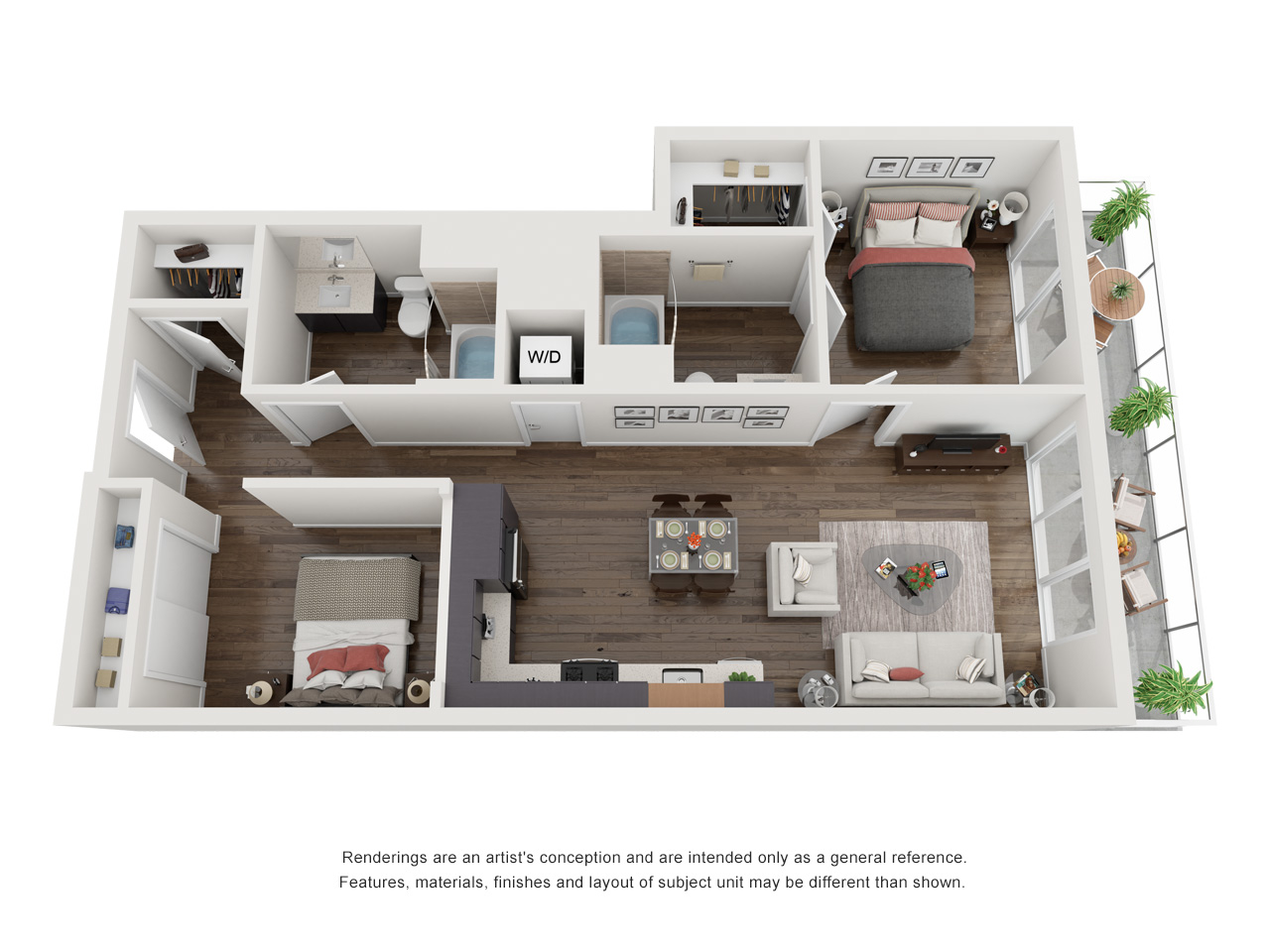 Plan 1D 2Bedroom | 2 Bath