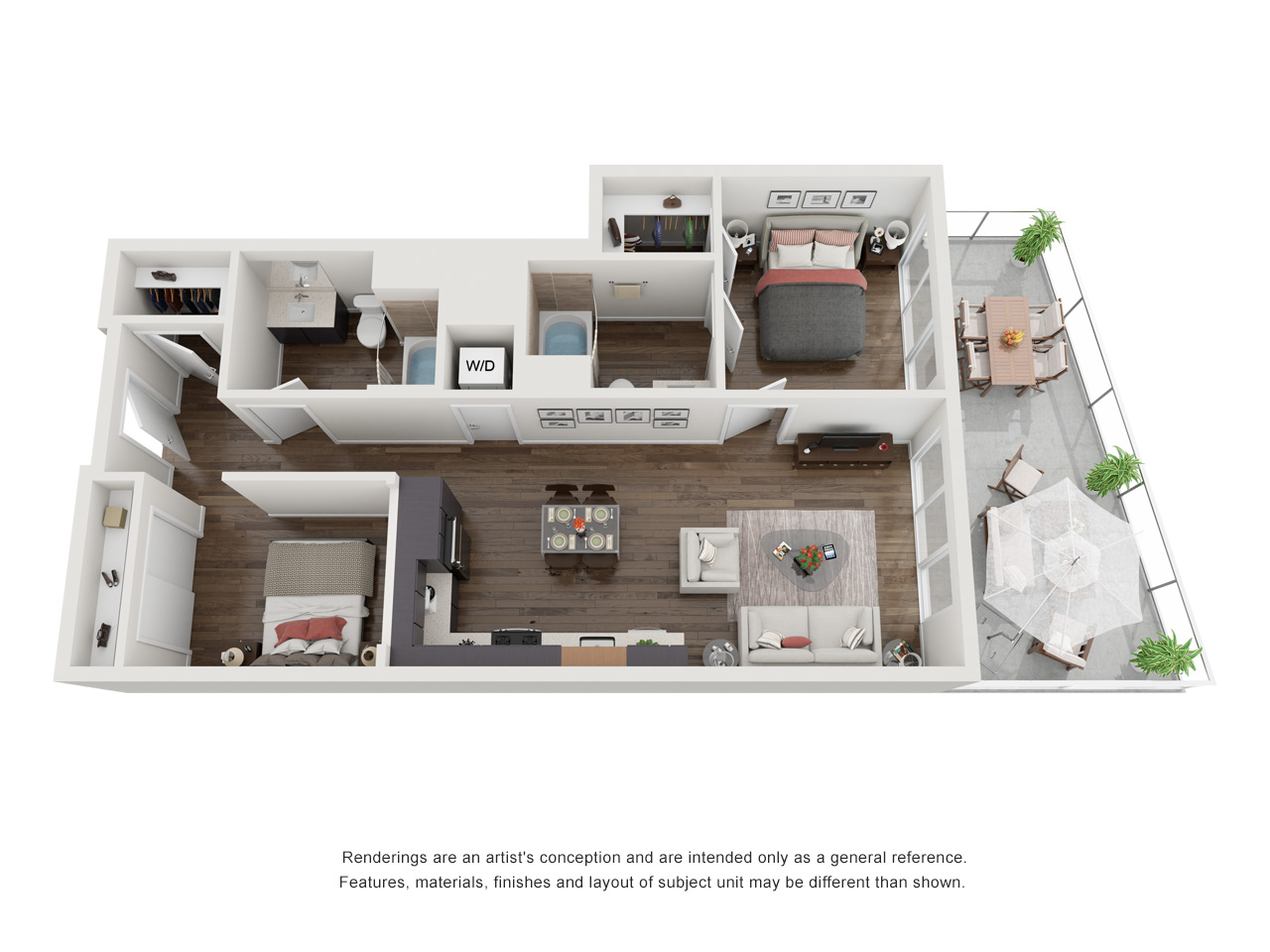 Plan 1D.1 2 Bedroom | 2 Bath