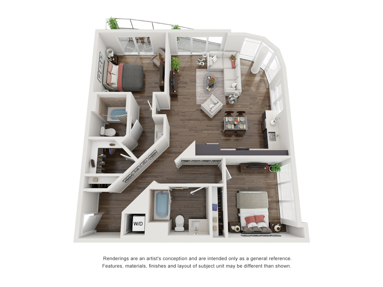Plan 2D 2Bedroom | 2 Bath