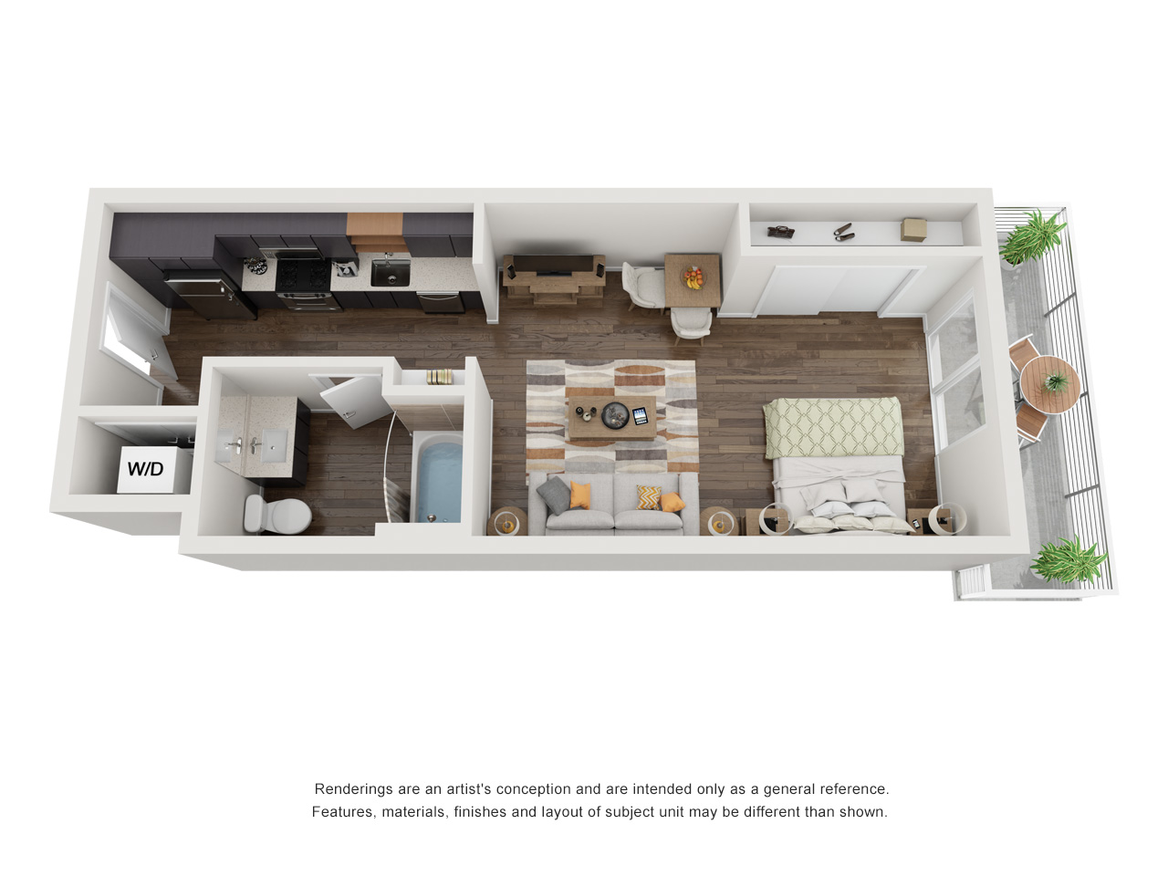 Plan SStudio | 1 Bath