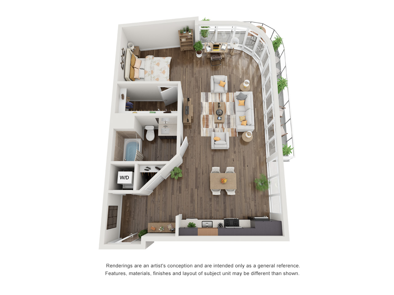Plan S4Studio | 1 Bath