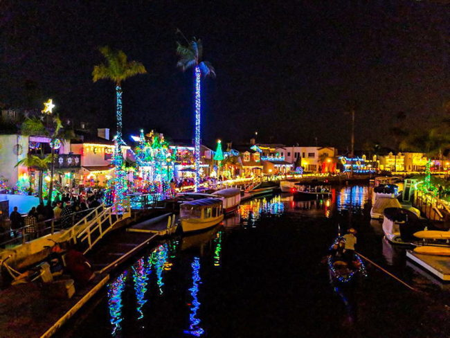 The Gondola Getaway holiday lights near The Crest apartments in downtown Long Beach
